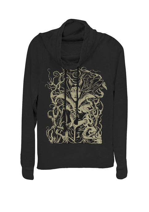 Juniors Sleeping Beauty Maleficent Branch Throne Cowl Neck Pullover