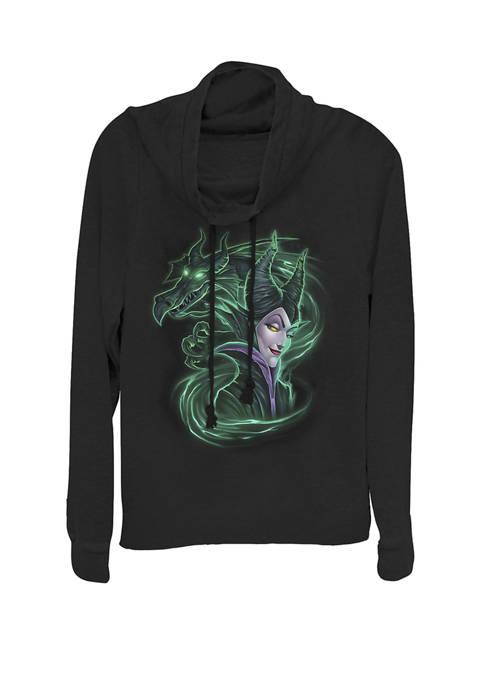Juniors Sleeping Beauty Maleficent Dark Magic Cowl Neck Pullover