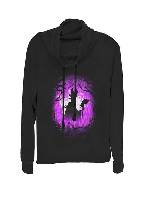 Sleeping Beauty Maleficent Silhouette Cowl Neck Graphic Pullover