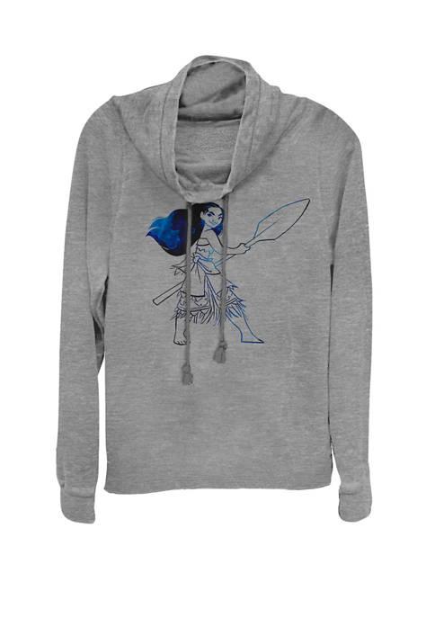 Disney® Moana Watercolor Print Cowl Neck Pullover