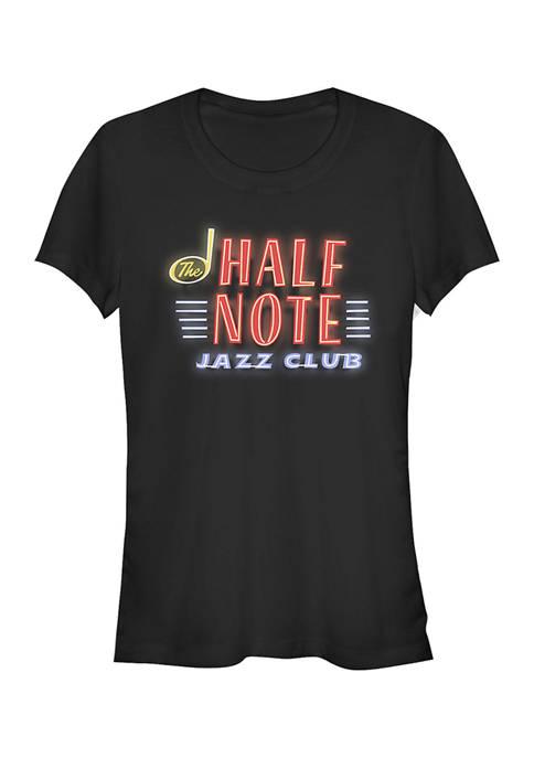Juniors Half Note Neon Sign Graphic Top