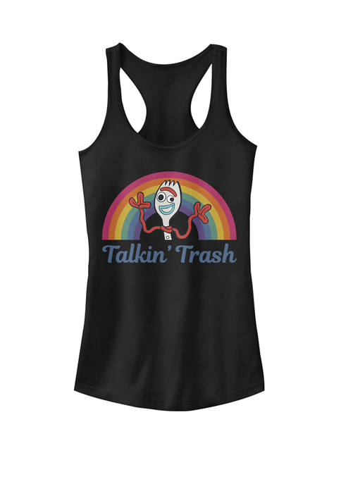 Toy Story 4 Forky Talkin Trash Rainbow Poster Graphic Racerback Tank