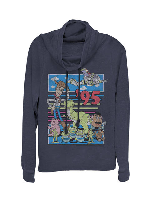 Toy Story 95 Retro Distressed Colorful Cowl Neck Pullover