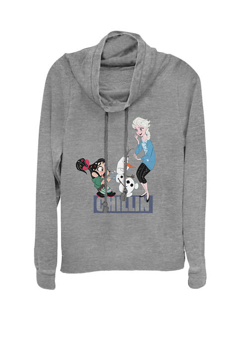 Wreck-It Ralph 2 Comfy Princess Elsa Chill Long Cowl Neck Graphic Pullover