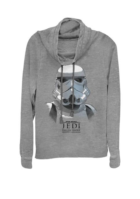 Jedi Fallen Order Stormtrooper Helmet Sketch Cowl Neck Graphic Pullover