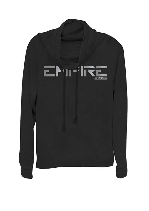 Empire Text Cowl Neck Graphic Pullover