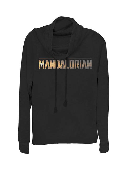 The Mandalorian Title Fill Logo Cowl Neck Graphic Pullover