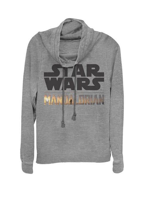 The Mandalorian Show Logo Stack Cowl Neck Graphic Pullover