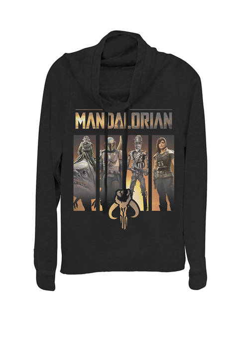 The Mandalorian Boba Fett Portrait Panels Cowl Neck Graphic Pullover