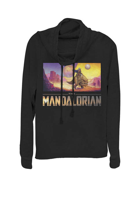 The Mandalorian Skyline Portrait Cowl Neck Graphic Pullover