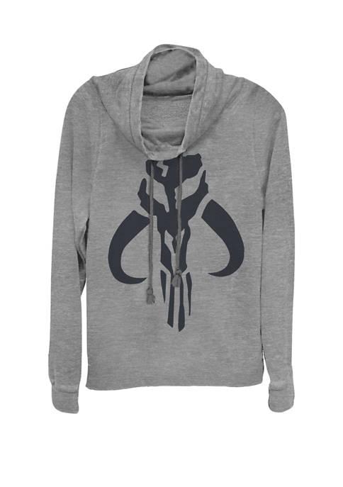 The Mandalorian Simple Logo Cowl Neck Graphic Pullover