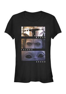 Star Wars The Mandalorian Womens Juniors Character Eyes Graphic T-Shirt