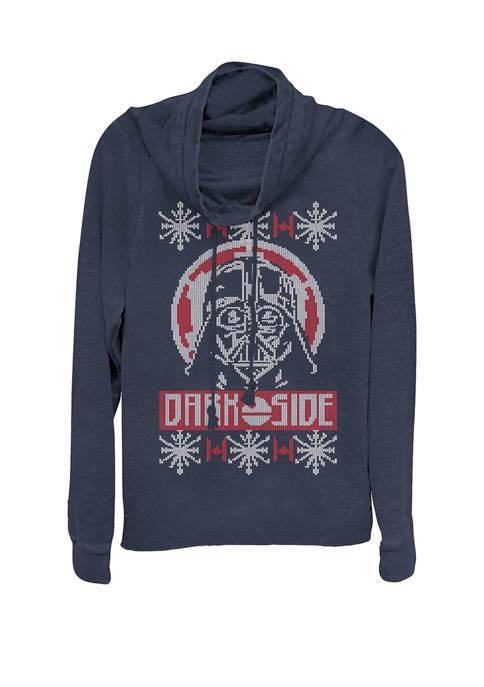 Darth Vader Dark Side Christmas Sweater Cowl Neck Graphic Pullover