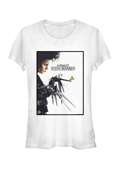 Edward Scissorhands Juniors Butterfly Poster Graphic T-Shirt