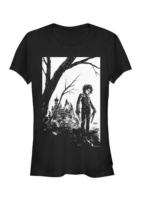 Edward Scissorhands Juniors BW Cover Graphic T-Shirt