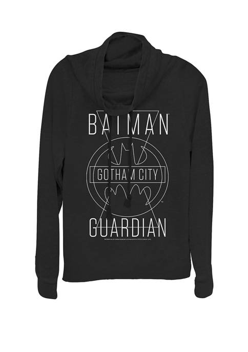 Gotham City Guardian Line Art Cowl Neck Graphic