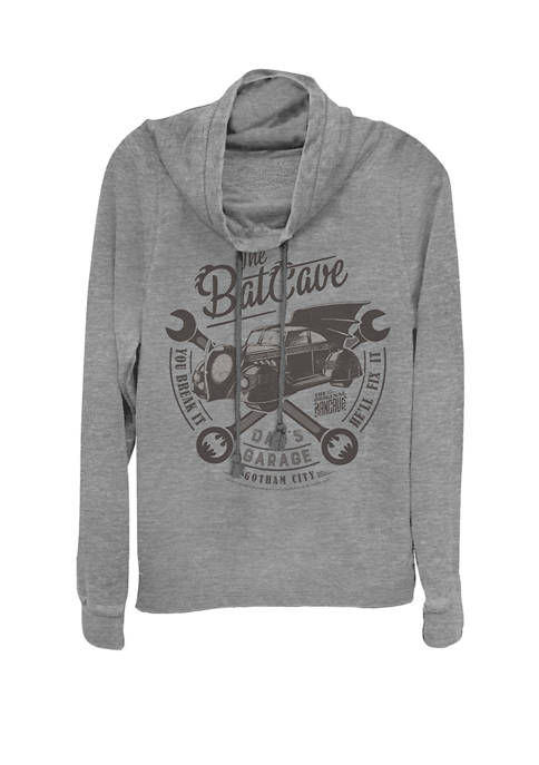 The Bat Cave Garage Logo Cowl Neck Pullover