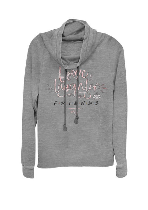 Love Laughter And F.R.I.E.N.D.S Text Cowl Neck Graphic