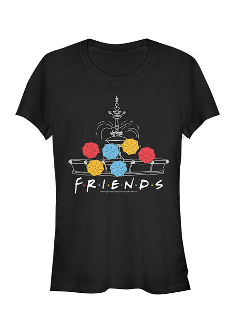 Friends Juniors Fountain Umbrellas Graphic T-Shirt