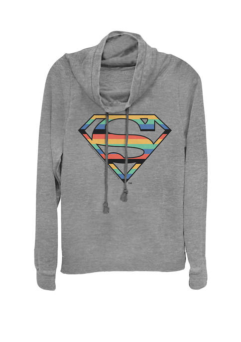 Striped Super Logo Cowl Neck Graphic Pullover