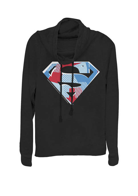 Patchwork Pattern Super Logo Cowl Neck Graphic Pullover