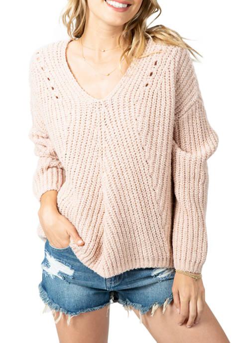 Womens Woven V-Neck Sweater