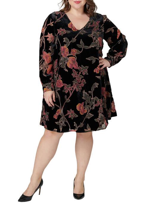 Plus Size Velvet Trapeze Dress