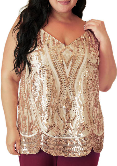 MAREE POUR TOI Plus Size Sequinned Tank Top