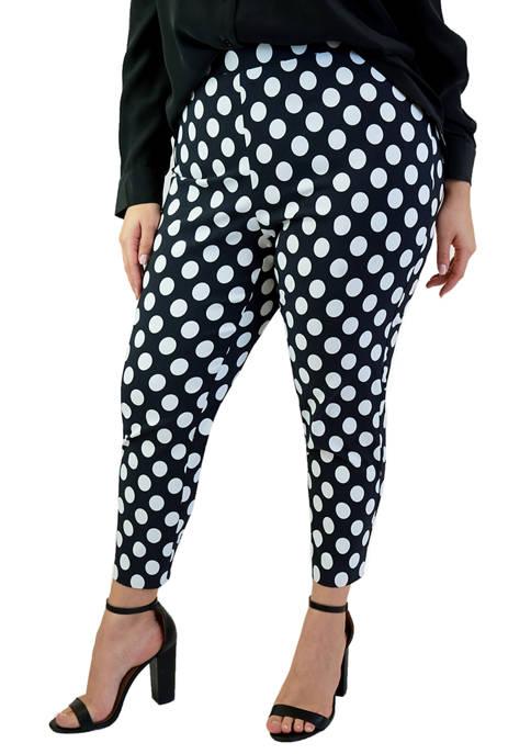 Plus Size Polka Dot Stretch Crepe Pants