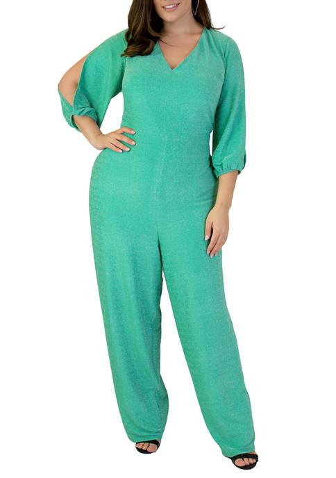 Plus Size Lurex® Knit Jumpsuit