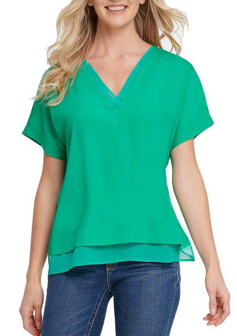 DKNY Womens Short Sleeve V-Neck Top with Side