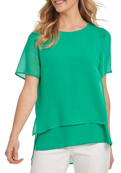 DKNY Womens Short Sleeve Mixed Media Top