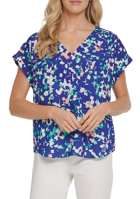 DKNY Womens Printed V-Neck Top with Rolled Cuffs