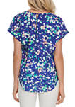 Womens Printed V-Neck Top with Rolled Cuffs