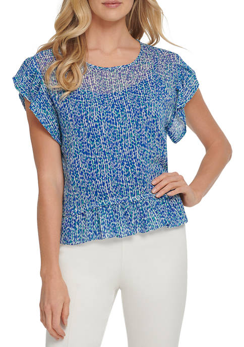 DKNY Womens Short Sleeve Printed Top with Ruffle