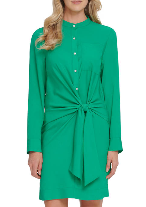 DKNY Womens Long Sleeve Tie Front Buttoned Dress