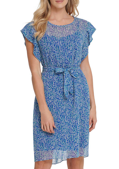 Womens Printed Dress with Short Ruffle Sleeves
