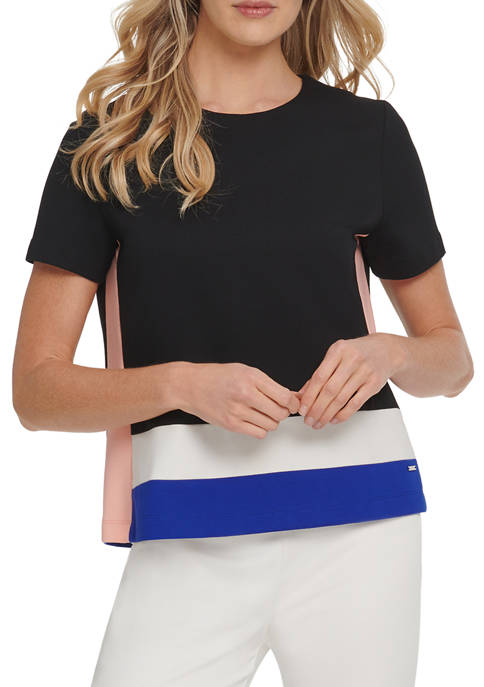 DKNY Womens Short Sleeve Colorblock Top