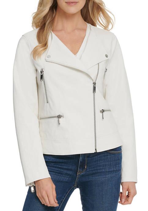 DKNY Womens Polyurethane Moto Jacket