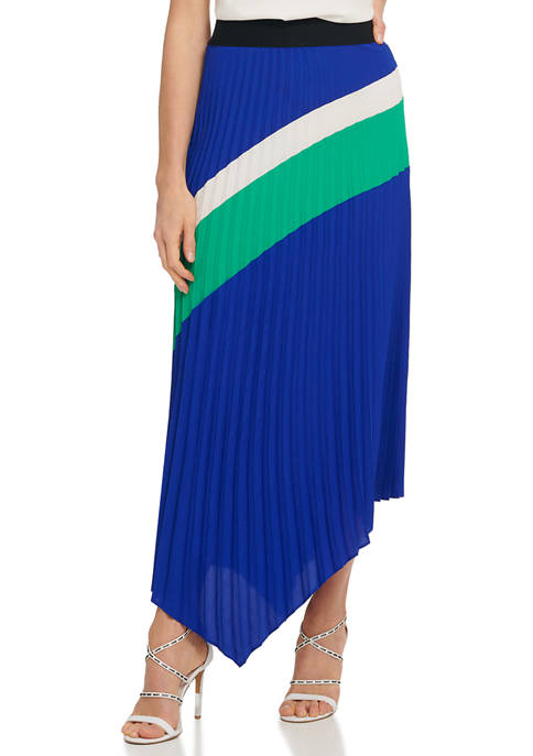 Womens Pull On Pleated  Asymmetric Skirt