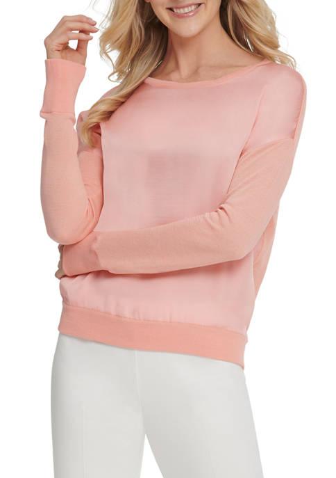 DKNY Womens Long Sleeve Mixed Media Sweater