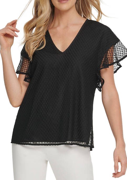 DKNY Womens Short Sleeve V-Neck Top with Mesh
