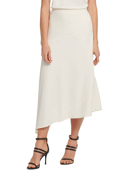 DKNY Womens Panel Asymmetric Midi Skirt