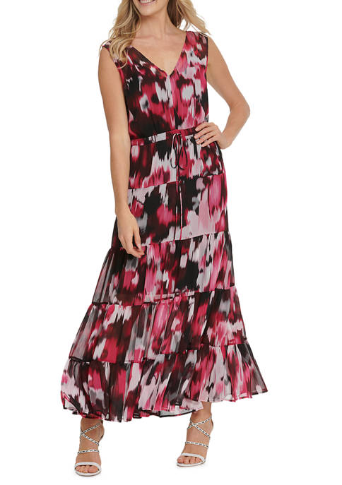 DKNY Womens Printed Sleeveless V-Neck Drawstring Maxi Dress