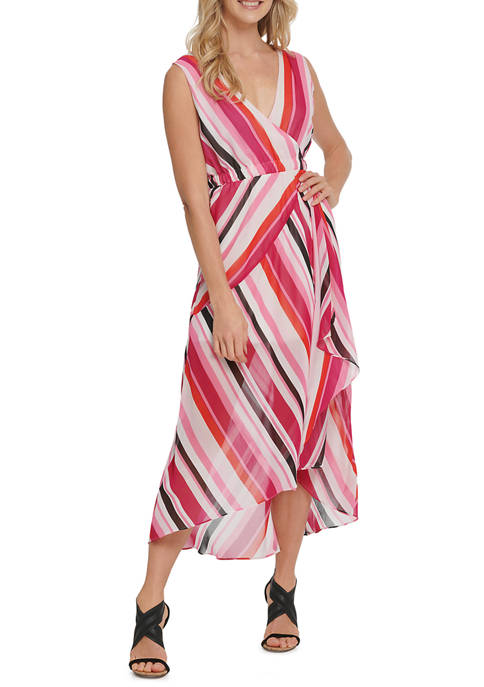 DKNY Womens Printed Sleeveless V-Neck Midi Dress