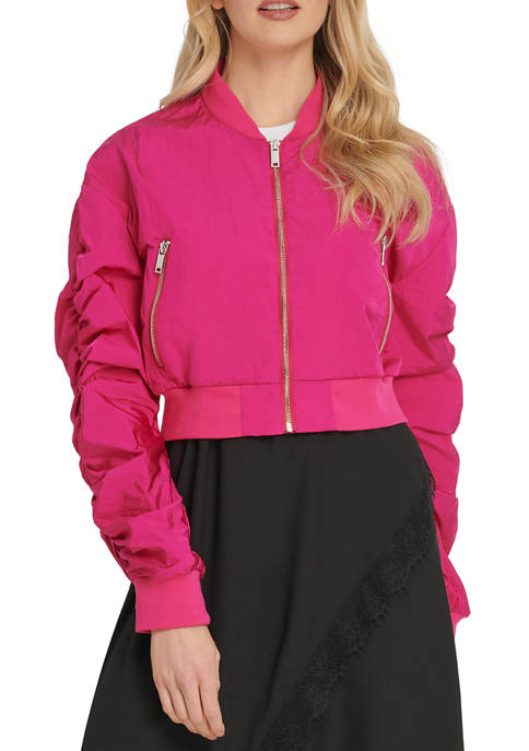 Womens Metallic Bomber Jacket with Ruched Sleeves