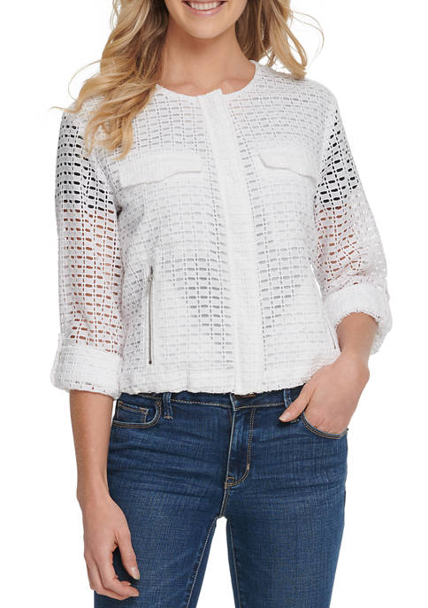 DKNY Womens Crochet Roll Tab Zip Front Jacket