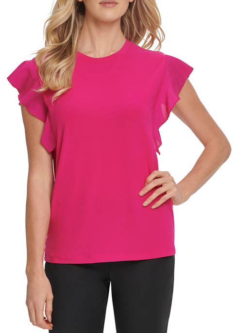 Womens Ruffle Mixed Media Short Sleeve Crewneck Top