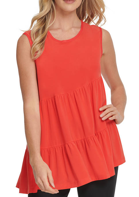 DKNY Womens Sleeveless Gathered Pleated Top