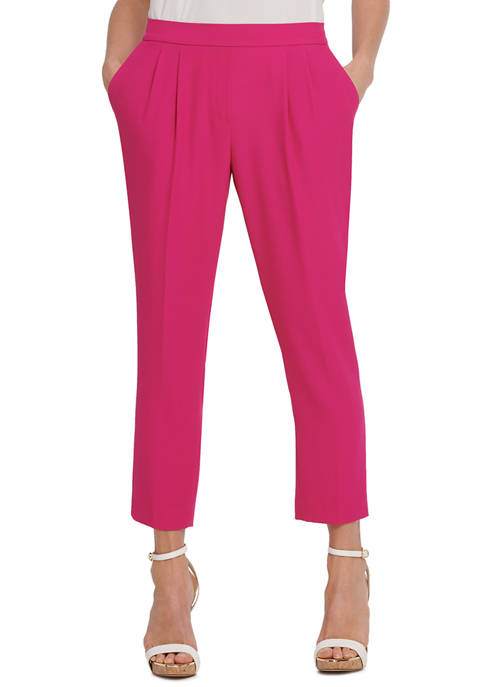 Womens Straight Pants with Pleated Waistband